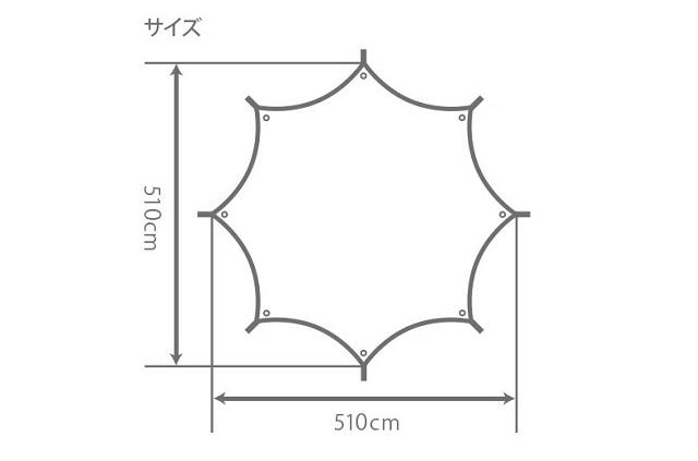 オクラタープのサイズがわかる平面図