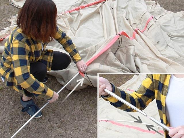 カマボコテント2タンカラーのスリーブにポールを通す女性