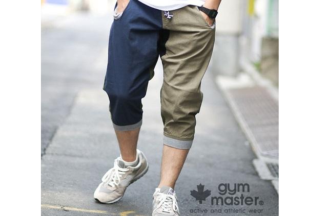 モデルがgym master(ジムマスター)綿麻ストレッチリブクロップドパンツを履いている