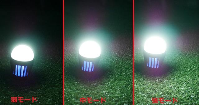 夜間の三段階の明るさの比較