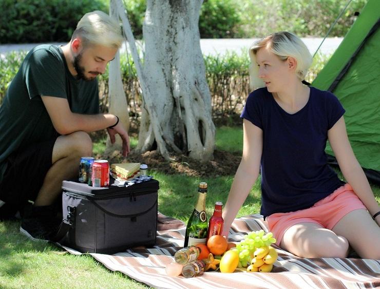 男女がピクニックしている様子