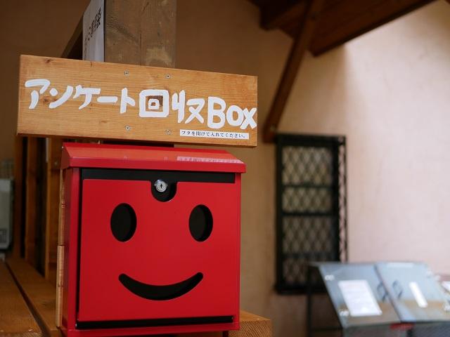 顔が描かれたアンケート回収ボックス