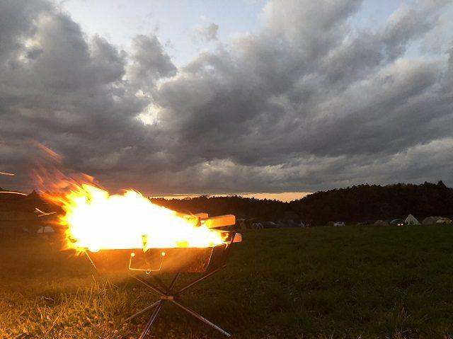 強風時の焚火