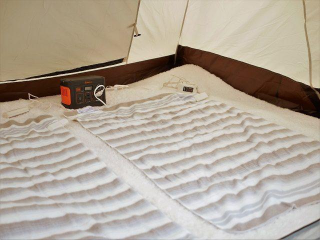 キャンプで電気毛布