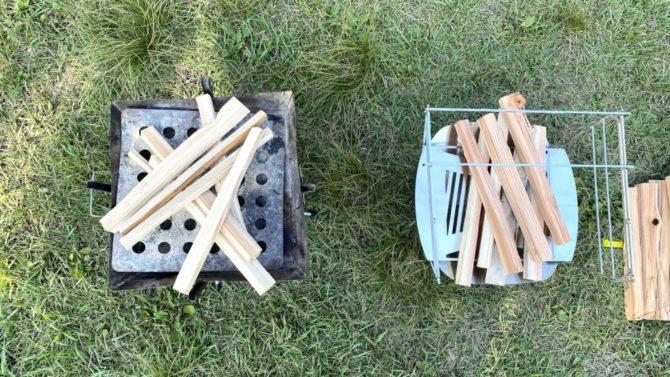 薪を載せた焚き火台