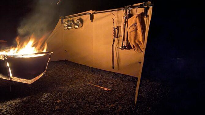 夜の焚火陣幕