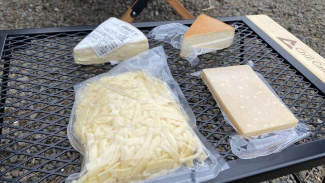 キャンプでチーズセット